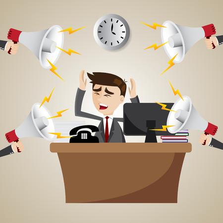 ruidoso: ilustraci�n de dibujos animados con el hombre de negocios de trabajo ruidoso meg�fono Vectores
