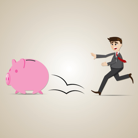 a bank employee: illustration of cartoon businessman chasing piggy bank in financial concept