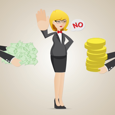 refuse: illustration of cartoon businesswoman refuse money from another person Illustration