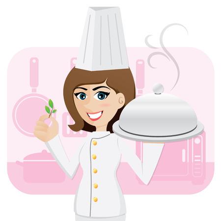 ilustración de cocinero chica de dibujos animados que sirve comida con hierbas