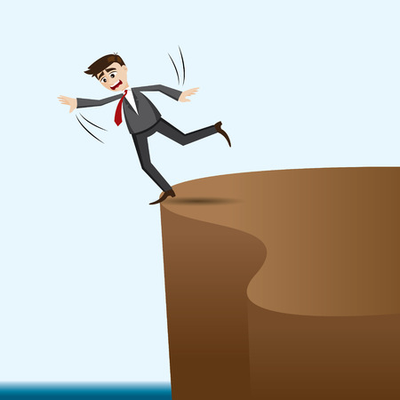 risky: illustration of cartoon businessman risky on cliff