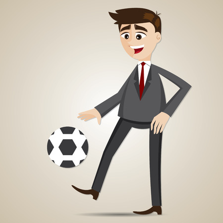 illustration of cartoon businessman bouncing ball in sport concept Vector
