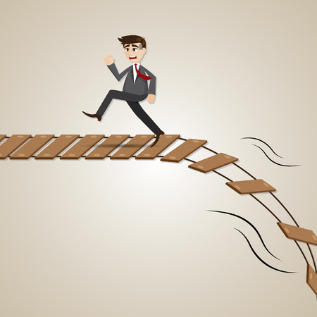 illustration of cartoon businessman run away from broken rope bridge in deadline concept 向量圖像