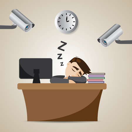 illustration of cartoon businessman sleeping at working time with CCTV Vectores
