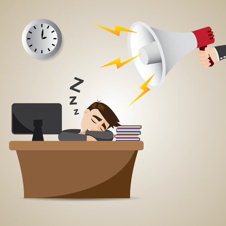 sleepy man: illustration of cartoon businessman sleeping at working time with megaphone Illustration