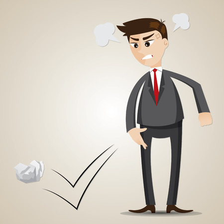 throwing paper: illustration of cartoon angry businessman throwing crumple paper Illustration