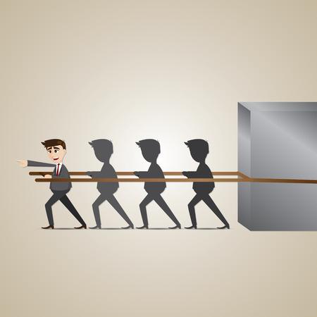 teamwork cartoon: illustration of cartoon leadership businessman in teamwork concept Illustration