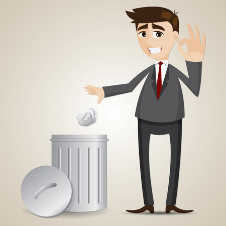 illustration of cartoon businessman put paper in recycle bin Vector