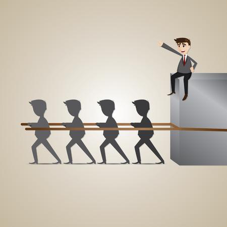teammate: illustration of cartoon businessman exploiting teammate in teamwork concept Illustration