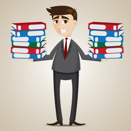 workload: illustration of cartoon businessman carrying folders in workload concept