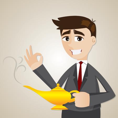 lampara magica: ilustración de dibujos animados de negocios con la lámpara mágica
