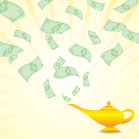 lampara magica: ilustración de dibujos animados dinero proviene de la lámpara mágica