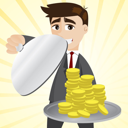 illustration of cartoon businessman showing gold coin in tray