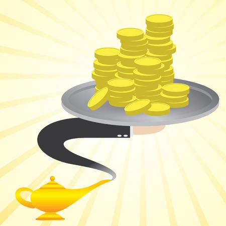lampara magica: ilustración de dinero de dibujos animados de la lámpara mágica Vectores