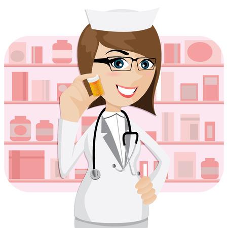 illustratie van cartoon meisje apotheker blijkt geneeskunde fles