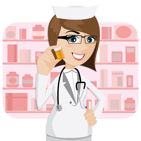 illustration of cartoon girl pharmacist showing medicine bottle