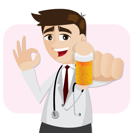 illustration of cartoon pharmacist showing medicine bottle