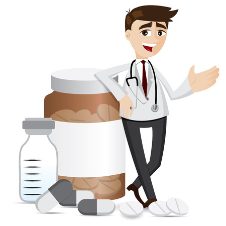 illustration of cartoon pharmacist with medicine pills and bottle Illustration