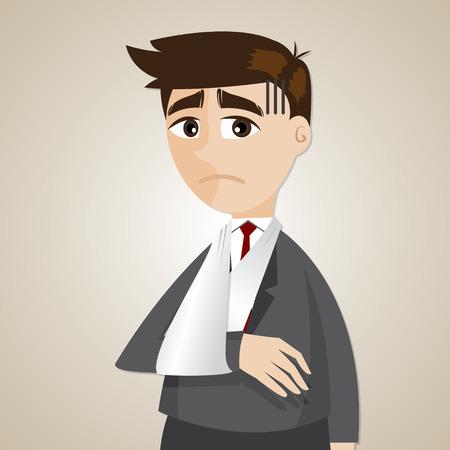 splint: ilustración de negocios de dibujos animados brazo roto en concepto de lesiones