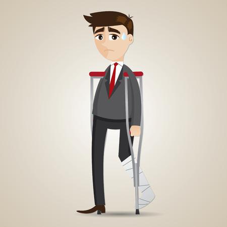 ilustración de dibujos animados empresario pierna rota con la muleta