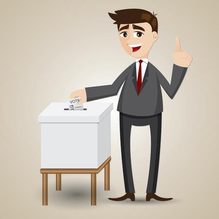 illustration of cartoon businessman voting with ballot box Illustration