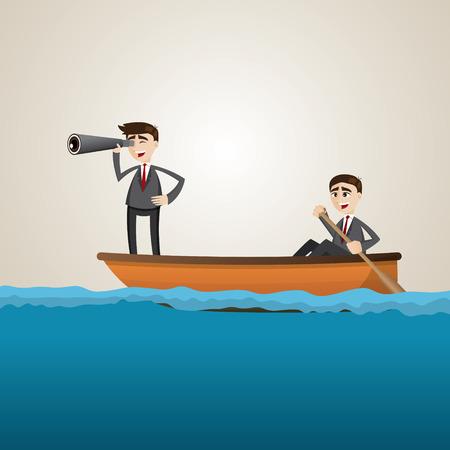 teammate: illustration of cartoon businessman paddling on sea with teammate scouting