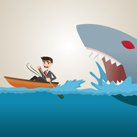 escape: illustration of cartoon businessman paddling escape from shark
