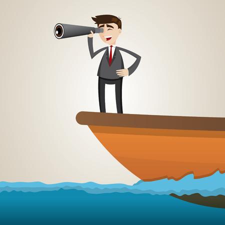 binoculars: illustration of cartoon businessman using binoculars on ship Illustration