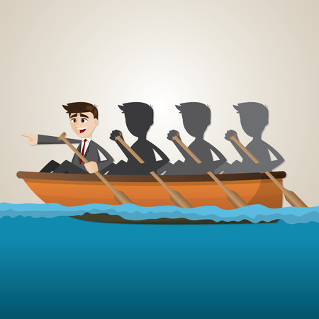 illustration of cartoon business team rowing on sea in teamwork concept Vectores