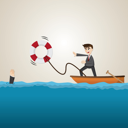 drown: illustration of cartoon businessman helping teammate with lifebuoy Illustration