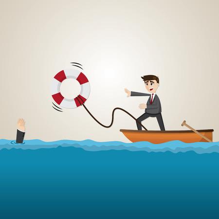 ahogarse: ilustración de dibujos animados de negocios ayudando a su compañero de equipo con salvavidas