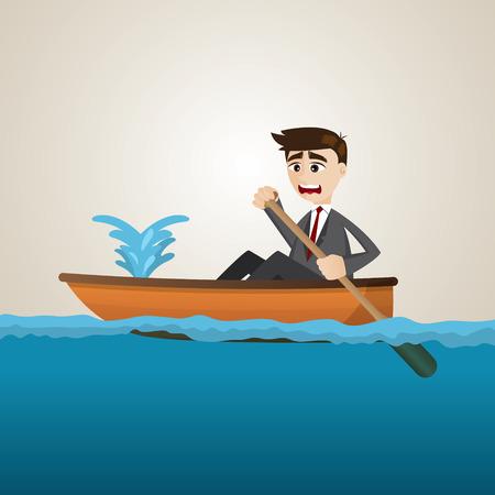 leaking: illustration of cartoon businessman with leaking boat Illustration