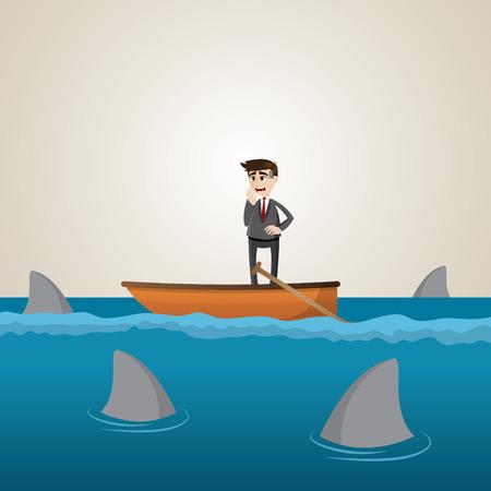 dangerous ideas: illustration of cartoon businessman on boat with shark in sea