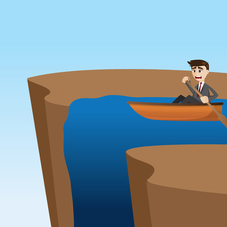 emotion faces: illustration of cartoon businessman paddling on waterfall in problem concept