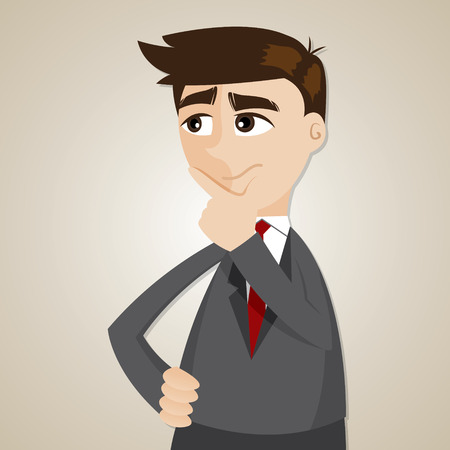 illustration of cartoon businessman thinking in problem concept 向量圖像