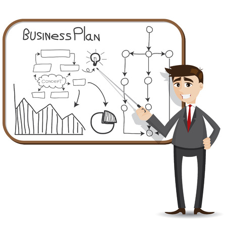 illustration of cartoon businessman presentation with business plan 向量圖像