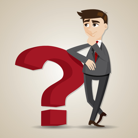 illustration of cartoon businessman thinking with question mark Illustration