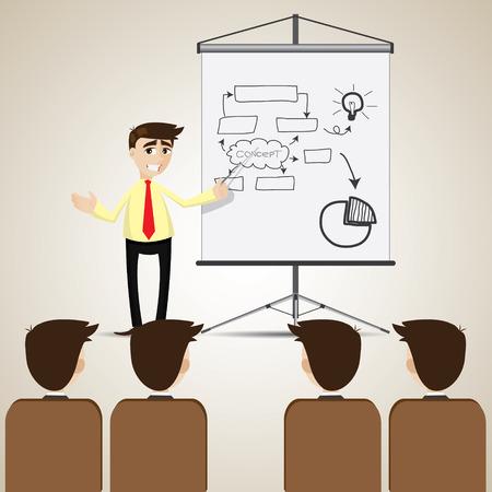 teammate: illustration of cartoon businessman presentation to audience