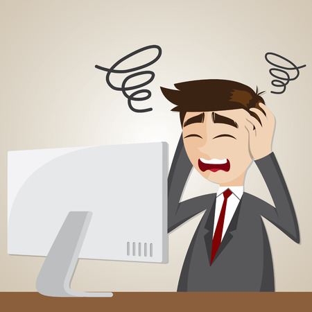 illustration of cartoon confusion businessman with computer Vectores