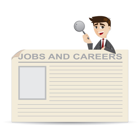 illustration of cartoon businessman searching for jobs and careers