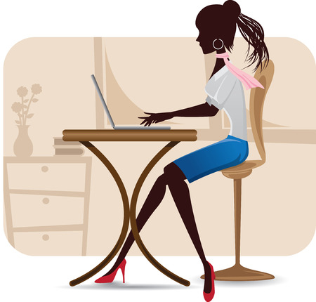 secretary desk: illustration of silhouette of working woman with laptop Illustration