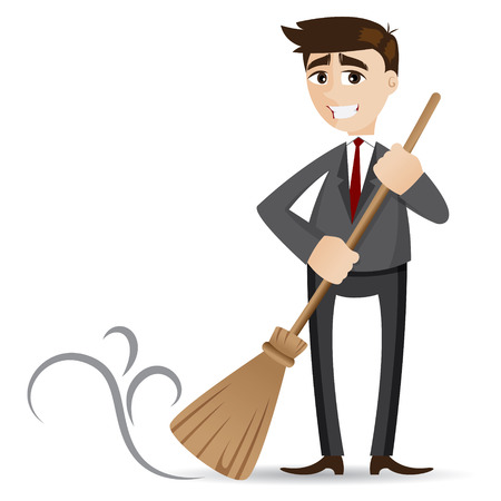 illustration of cartoon businessman cleaning with broom Illustration