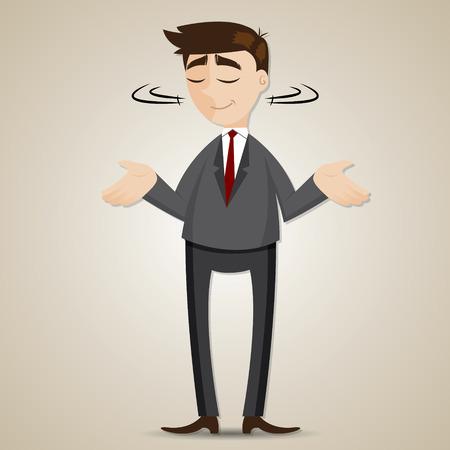 indecisive: illustration of cartoon businessman shrug shoulder Illustration
