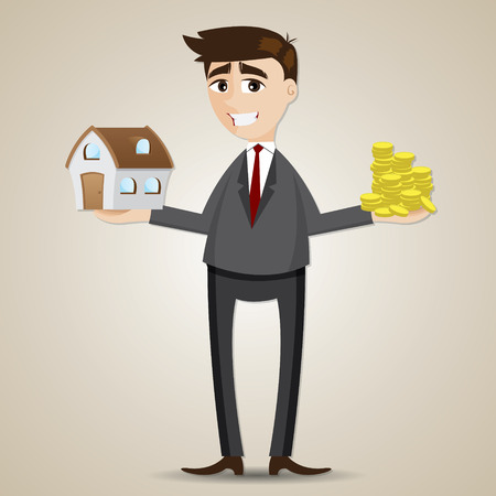 property investment: illustration of cartoon businessman holding house and gold coin in property concept