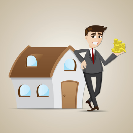 investment concept: illustration of cartoon businessman with house and money in investment concept