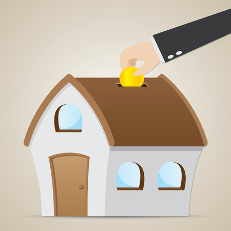 property investment: illustration of cartoon businessman drop coin in house bank in property investment concept
