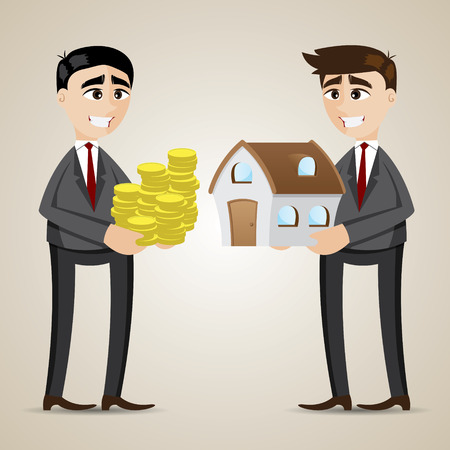 home value: illustration of cartoon trading house among agent and businessman