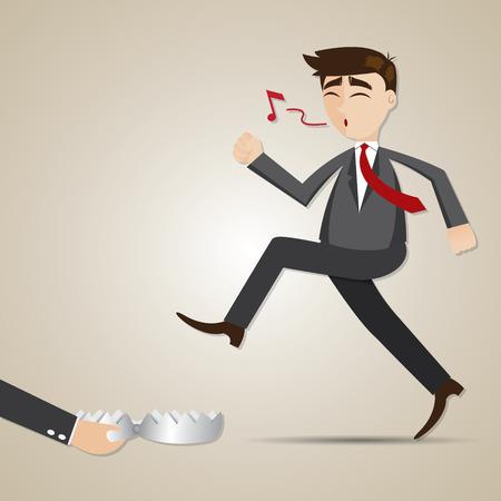 risky: illustration of cartoon businessman with entrapment in risky concept Illustration
