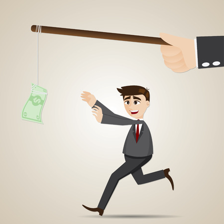 illustration of cartoon luring businessman with money