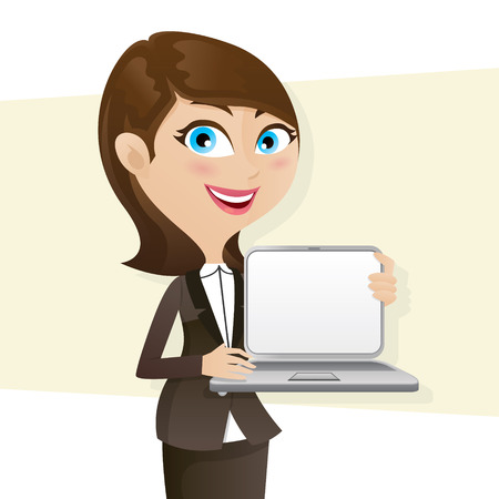 illustration of cartoon smart girl showing laptop blank screen